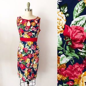 Modcloth Hearts & Roses Fitted Sheath Dress Floral